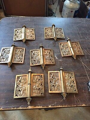 "H113 Seven Matching Very Decorative 5 X 6"" Bronze Hinges November 2, 1869"
