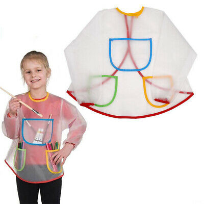 Childs Toddler Waterproof PVC Art Craft Painting Apron Smock Baking with Pockets