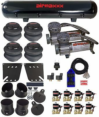 Impala Air Suspension Kit 3/8 Valves Blue 7 Switch Air Compressors 1958-64 Chevy