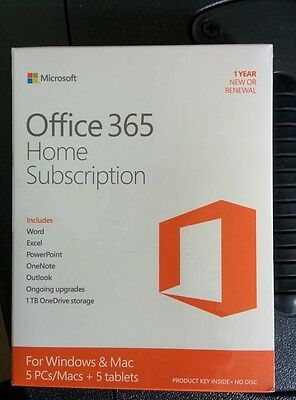 Microsoft Office 365 NEW SEALED GENUINE Windows 5 PCs / Macs + 5 tablets