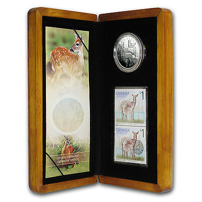 2005 Canada 1 oz Silver White Tailed Deer Coin and Stamp Set - SKU #59476
