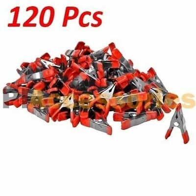 120x 2 inch Mini Metal Spring Clamps w/ Red Rubber Tips Tool LOT of 120 Pcs Pack