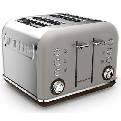 Morphy Richards 242102 Pebble Brown Toaster Matte Chrome Accents 4 Slice 1800W