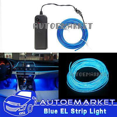 3M Blue Interior Light Cold Car LED EL Wire Neon Lamp Atmosphere Glow Strip SUV