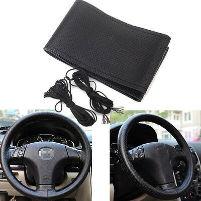 Black Grip Leather Car Truck DIY Steering Wheel Cover Breathable For Peugeot