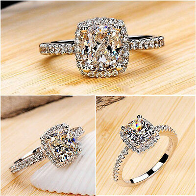 Fashion Women Zircon White Sapphire Silver Plated Wedding Ring Size 6-9 Jewelry