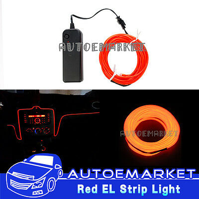 5M Red Interior Light Car LED EL Wire Neon Lamp Atmosphere Glow Strip SUV 12V