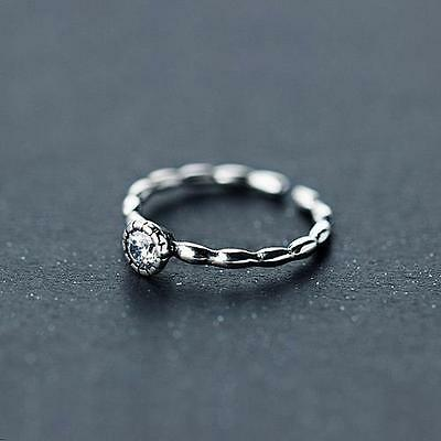 FREE SHIP! solid silver 925 open resizable ring Retro style with round CZ
