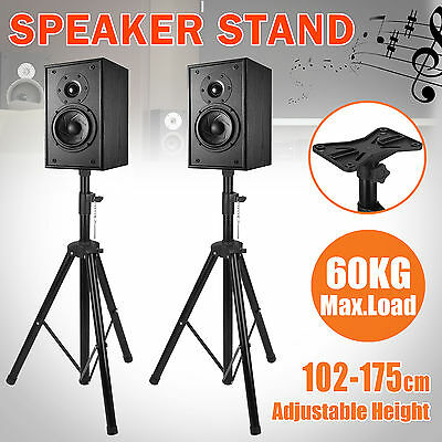 2PCS Speaker Stand Tripod Mount Music Adjustable PA Stage DJ Home Heavy Duty