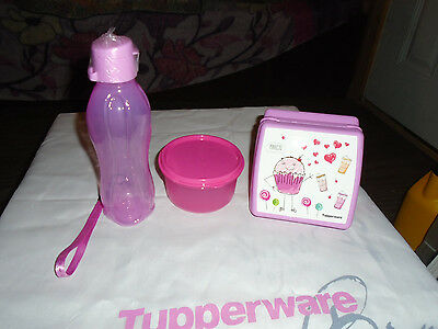 Tupperware Brand New Pink Sandwich,Bottle,Snack Cup Lunch Set