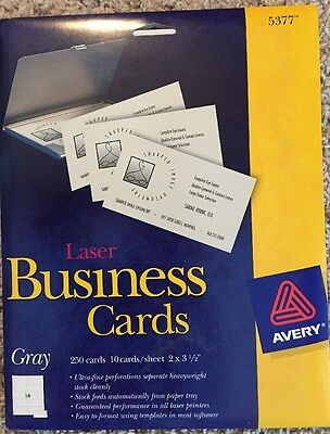 """Avery Gray Laser Business Cards 2"""" X 3 1/2"""", 250 Cards, 5377"""