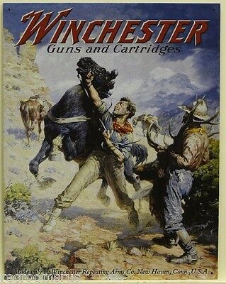 WINCHESTER metal sign Guns and Cartridges spooked horse cowboy hunting ammo  936