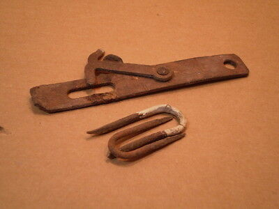 Vintage Rusty Steel Gate Barn Cabinet Shed Door Hook Lock w/ old Stables 6 inch