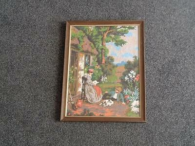 Vintage Needlework Tapestry Depicting Family