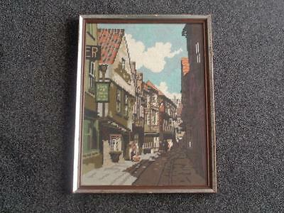 Vintage Needlework Tapestry Depicting Cobbled Street - Large