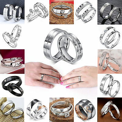 High Couple Lovers Silver Plated Crystal Wedding Promise Engagement Couple Ring