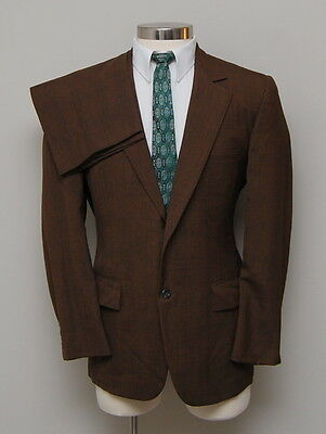 Vintage 1960s Mens 38R Jonathan Moore 2 Piece Brown/Black Plaid Wool Blazer
