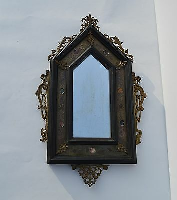 Beautiful Antique Gothic Wall Mirror Bronze/wood/inlay Stone Original Glass