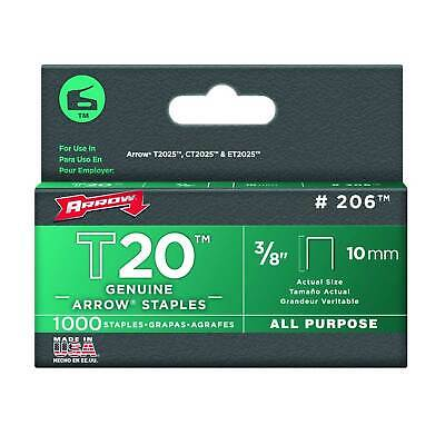 Arrow Fastener 206 Genuine T20 3/8-inch (10mm) All-Purpose Staples, 1000-Pack