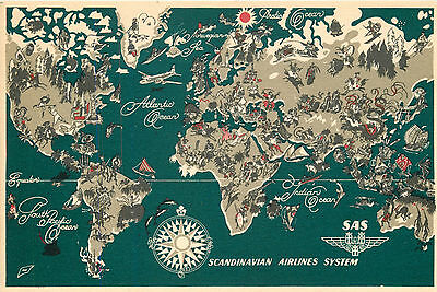 SCANDINAVIAN AIRLINE SYSTEM - Old Airline Issued / MAP Advertising Postcard 1955