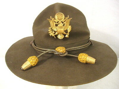WWII US Army M1911 Montana Peak Campaign Hat - Officer's Hat Cords & Emblem #2