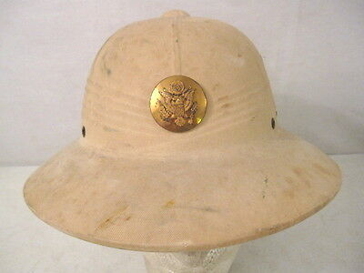 WWII US Army Hawley Tropical Pith or Sun Helmet Complete w/NCO Cap Badge #1