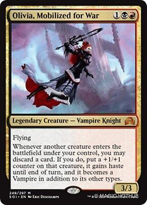 OLIVIA, MOBILIZED FOR WAR Shadows over Innistrad MTG Gold Creature — Vampire Kni