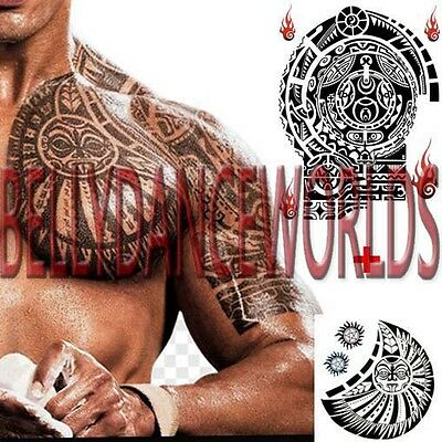 Set Of 2 Tribal Celtic Polynesian Bicep Chest Upper Arm Temporary Tattoo Sticker