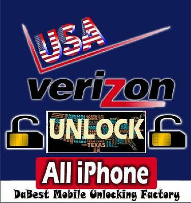 USA Verizon iPhone mobile factory unlock code 3G 3GS 4 4S 5 5S 5C 6 & 6+ (Clean)