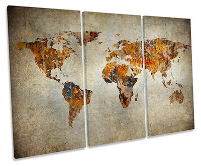 Map of the World Grunge TREBLE CANVAS WALL ART Box Framed Picture