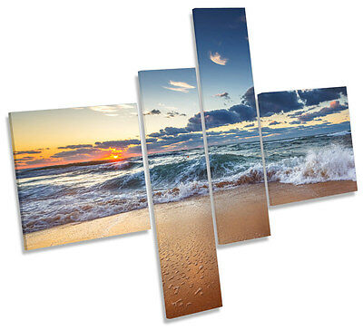 Seascape Beach Wave Cloudy Framed MULTI CANVAS WALL ART Picture