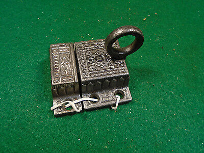 BEAUTIFUL CAST STEEL CABINET LATCH HANDLE w/KEEPER EASTLAKE  (4516-J)