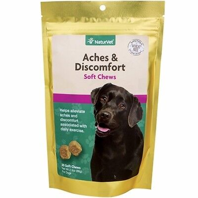 NaturVet Aches & Discomfort Dog Joint Health Glucosamine HCI Soft Chews, 30 ct