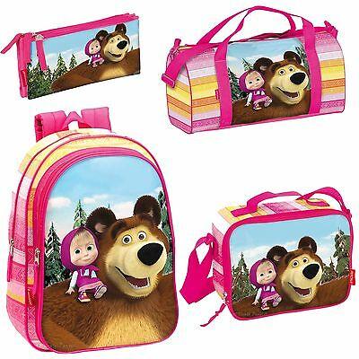 Masha And The Bear Backpack Kids Sports Travel Gym Cooler Lunch Bag OFFICIAL