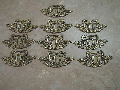 10 Ornate Brass ESCUTCHEON Key Hole Cover/Plates VICTORIAN FANCY SCROLL 3""