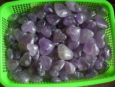NATURAL AMETHYST QUARTZ CRYSTAL HEARTS CARVED Wholesales Price,Free Shipping