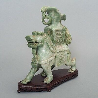 "Antique Chinese Carved Green Stone Jade Dragon Statue Vase 10.5"" + Wood Base"