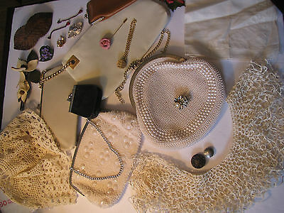 Victorian Crotchet Collar, Mop Purses, Leather Wallets, Leather Art Brooches, ++