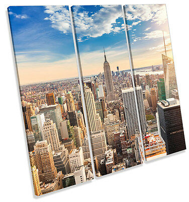 New York City Skyline Modern TREBLE CANVAS WALL ART Square Picture Print