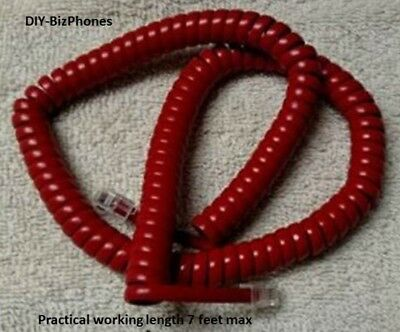 Cherry Red 12 Ft Generic Handset Cord Phone Curly Coil Receiver Vintage 1200RD