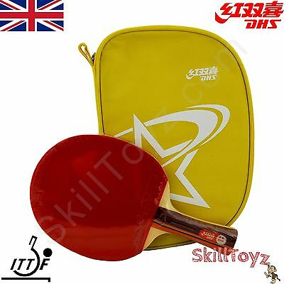 DHS Table Tennis Bat and Case A2002 ITTF approved rubbers Shakehand  *UK SELLER*
