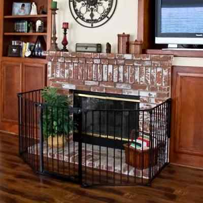 Baby Child Pet Dog Safety Fence Gate Wide Walk Extra Door Metal Fireplace Hearth