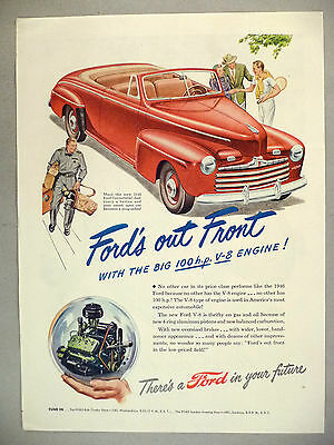 Ford Convertible PRINT AD - 1946