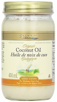 Spectrum Coconut Oil, Organic Refined, 414 gm Sealed. Free Shipping!