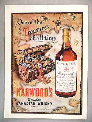 Harwood's Canadian Whiskey PRINT AD - 1946 ~~ pirate's treasure chest