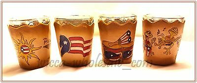 1 Assorted Shot Glasse With Puerto Rico leather design holders SOUVENIRS Rican