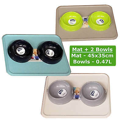 Cat Kitten 2 Bowls 0.47L + Mat Dog Pet Feeding Water Food Dish Clean Placemat