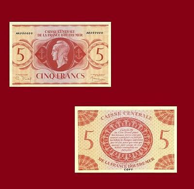 French Equatorial Africa 5 Francs 1944. UNC - Reproductions