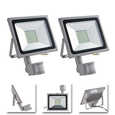 2x 80W Flood Light Cool White PIR Motion Sensor LED Outdoor Security SMD Light