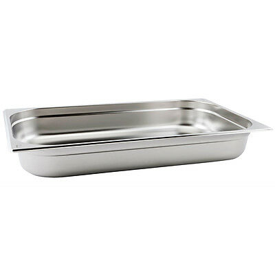 6 x Full Size 1/1 65mm Bain Marie Gastronorm GN Pan Tray Stainless Steel
